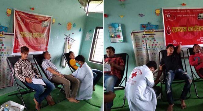 युवा संगठनले गर्यो मध्यविन्दुमा रक्तदान